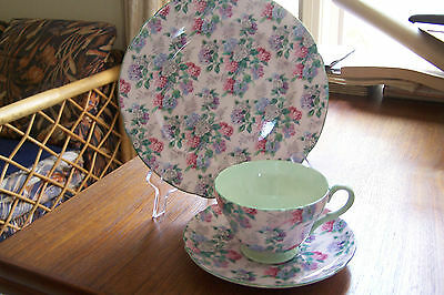 Shelley - Summer Glory Pink - Henley Shaped - Teacup, Saucer & Plate #1346