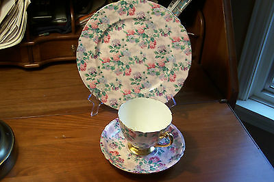 Shelley - Summer Glory Pink - Ripon - Teacup, Saucer and Plate #13381