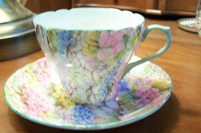 "Shelley  -  ""Rock Garden ""  -  #13454 - Demitasse cup and saucer"