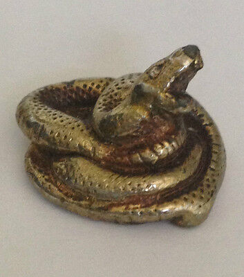 Vintage Sculpted Rattle Snake Coiled to Strike B old metal badge