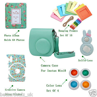6 In 1 Instant Film Green Camera Bag Accessories Bundles Set for Instax Mini 8