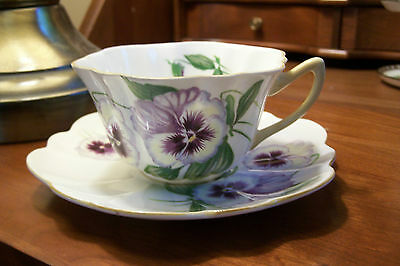 """Shelley  -  """"Pansy """"  -  #13823 - Teacup and Saucer - Stratford shaped"""