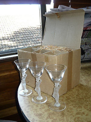 6x 1930s 40s 50s French Art Deco Opalescent Wine Glass Quality Vintage Box Set