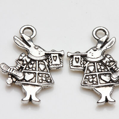 10Pcs Alice in Wonderland Rabbit Charm Tibet Silver Pendants Jewelry Findings