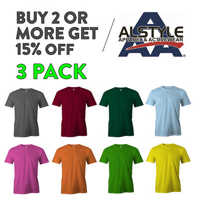 3 Pack Aaa Alstyle 1301 Plain Mens T Shirt Short Sleeve T Shirt Lightweight Tee