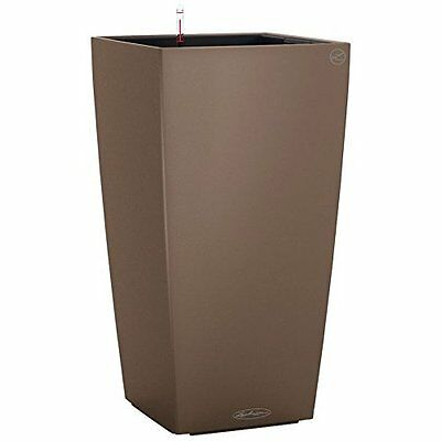 Lechuza Colour Cubico 22cm Smooth Nutmeg Self Watering  Tapered Square Planter P