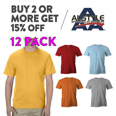 12 Pack Aaa Alstyle 1301 Mens Casual T Shirt Plain Short Sleeve Shirts Cotton