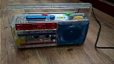 Retro Radio/cassette  Am/fm Transparent  Very Rare To Find Working Order