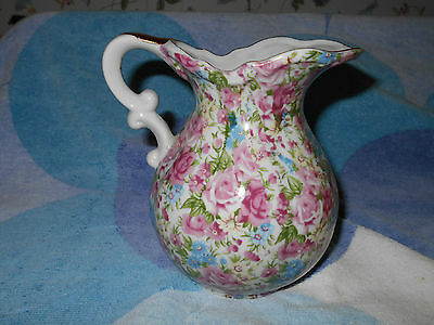 Chintz Royal Pitcher Pink Roses Arnart 5th Ave~Made in Japan~Lovely decoration~