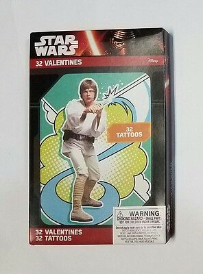 Disney Star Wars Classic 32 Valentines Day Cards with Tattoos Brand New