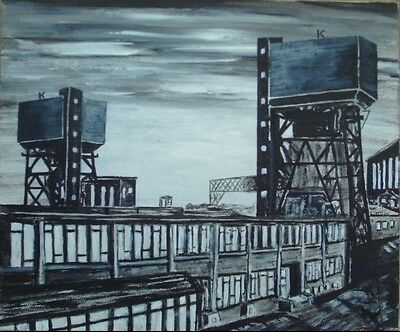 Coal Mining  Kellingley Colliery Coal Ncb Pit Original Painting Miners.