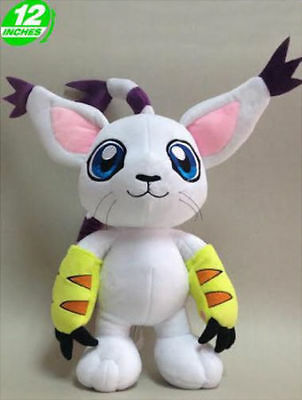 "FAST SHIPPING Tailmon Gatomon 12"" 30 cm Digimon Adventure Soft Plush Toy Doll"