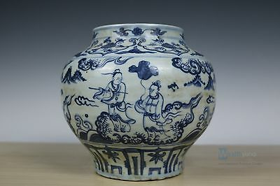 Fine Chinese Beautiful Blue and white Porcelain character Pot
