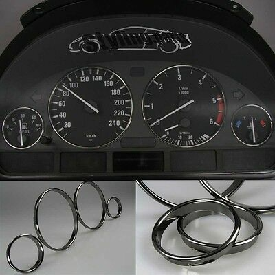 BMW E38 7er E39 5er X5 E53 SPEEDOMETER RINGS BLACK / DARK CHROME SNAP