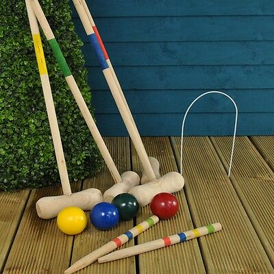 4 Play Croquet Set Wooden Game Outdoor Activities Garden Mallet Ball Toy Family