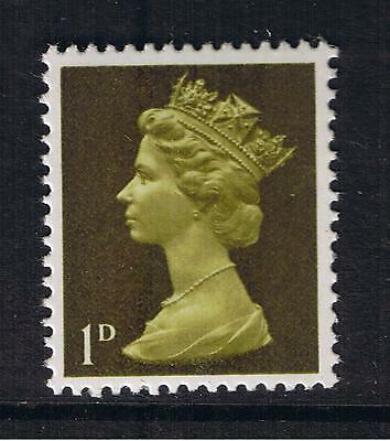 GB QEII Machin Definitive Stamp. SG 724 1968 1d Light Olive 2B MNH 10% off 5+