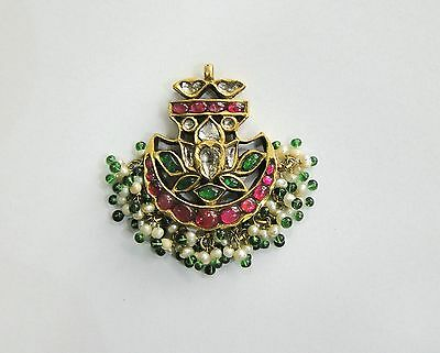 Vintage antique solid 20k Gold jewelry Diamond Polki Ruby Emerald Pendant Amulet