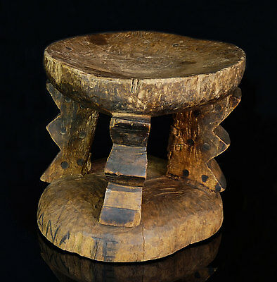 Tribally Used African Stool Chair - Kaonde Tribe - Northwestern Zambia - ������