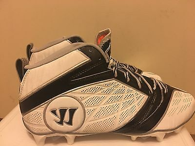 NEW Men's Lacrosse Warrior Burn 2nd Degree White & Blac Mid Cut Cleats Size 11.5