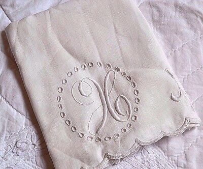 "Vintage/Antique Linen or Cotton Monogram Cursive ""H"" Pillowcase White/Ecru 21x32"