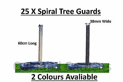 25 X (60cm x 38mm) Spiral Tree Guards Shelter Canes Rabbit Hedge Saplings Fence