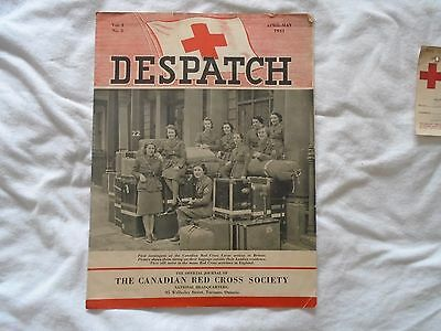 The Canadian Red Cross Society 1943 Dispatch Magazine + Old Receipt + Poastcard