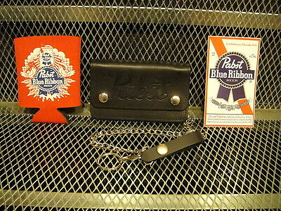 PBR PABST BLUE RIBBON NEW Leather Embossed Logo Chain Truckers Wallet + KOOZIE