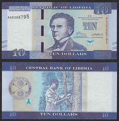 Liberia 10 Dollars  2016  Pick New   SC = UNC