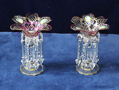 Antique Cranberry Glass Lustres with Painted Panels of Georgian Ladies Pair of