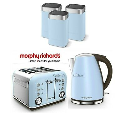 Morphy Richards Blue Kettle and Toaster Set With Tea Coffee & Sugar Canisters