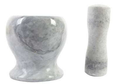 Grey Marble Mortar And Pestle Crushing Food Herbs Spices Pills