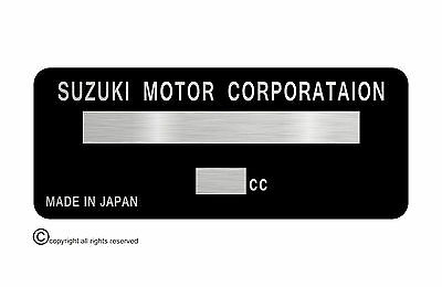 Suzuki Motorcycle data plate 86x30mm quality vin-tage new