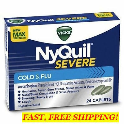 VICKS NyQuil SEVERE Cold & Flu Nighttime Relief 24 Caplets