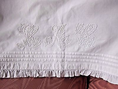"""Antique French Estate Over Lay Pillow Cover Sham~84""""Tambour Work~Pintuck~Ruffle"""