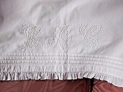 "Antique White Linen Over Lay Pillow Cover Sham~84"" Soutache Embroidery~Ruffle"
