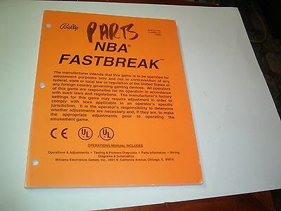 Original Nba Fast Break  Pinball Manual