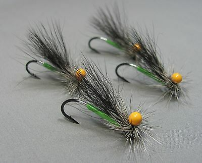 4 Stonefly Atlantic Salmon Flies - Tied on Single Hooks - Sizes 4, 6 and 8