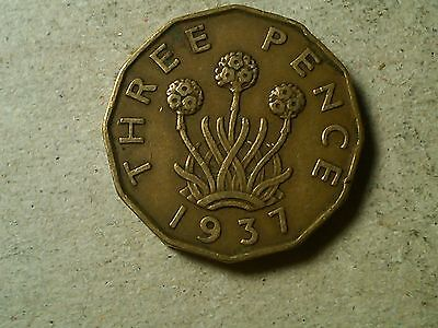 Great Britain 3 pence threepence 1937 tombac thrift plant