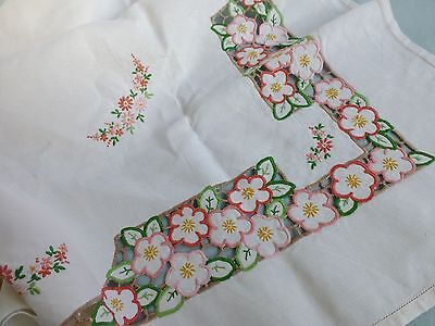 Antq 30's Art Deco linen tea tablecloth embroidered cutwork lace Apple Blossom