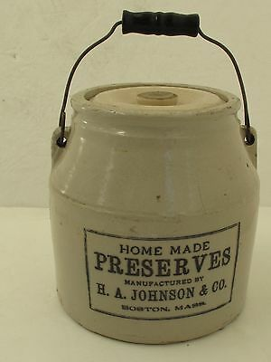 Antique Home Preserves Boston Crock with Lid and Bail Handle