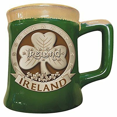 Irish Designed Pottery Mug With A Shamrock Design, Green Colour