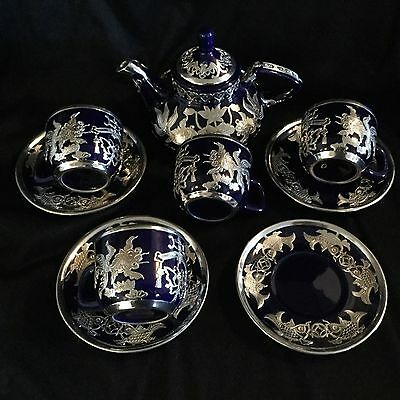 Antique Chinese Export Ceramic Tea Set, Sterling Silver Decoration From 1920S