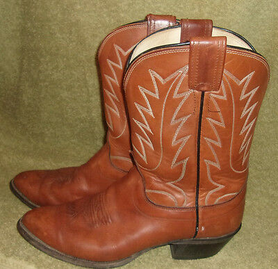 OLATHE Cowboy Western Boots Size 9 D Tan 132116 Made in USA USED