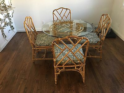 Mid Century Rattan Philippine Dining Table Four Chairs Chinoiserie