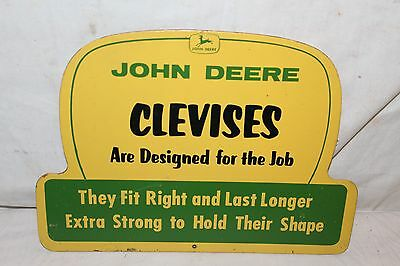 """Rare Vintage c.1960 John Deere Clevises Farm Tractor 2 Sided 15"""" Sign"""
