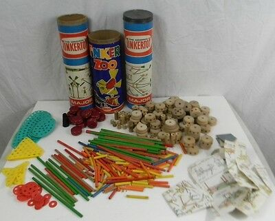 Vintage Lot of Tinker Toy Zoo 3 Canisters Building Toys Instructions 1964