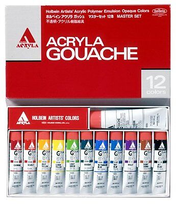 Holbein Acryla Gouache 12 Colors Set / Acrylic 20ml×11 40ml×1 Tube Paint #Track