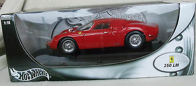 100% Hot Wheels Ferrari 250 LM Rare Red Diecast Car in Box 1/18 Metal Collection