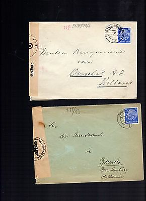 gERMANY 2 COVERS SENT TO hOLLAND BOTH WITH CENSOR MARKS
