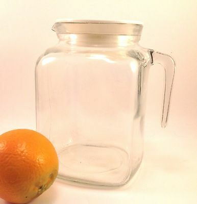 Vintage clear glass refrigerator juice water pitcher Bormioli Rocco Italy